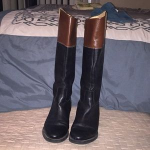 Enzo Angiolini Riding Boots Black / Chestnut Brown